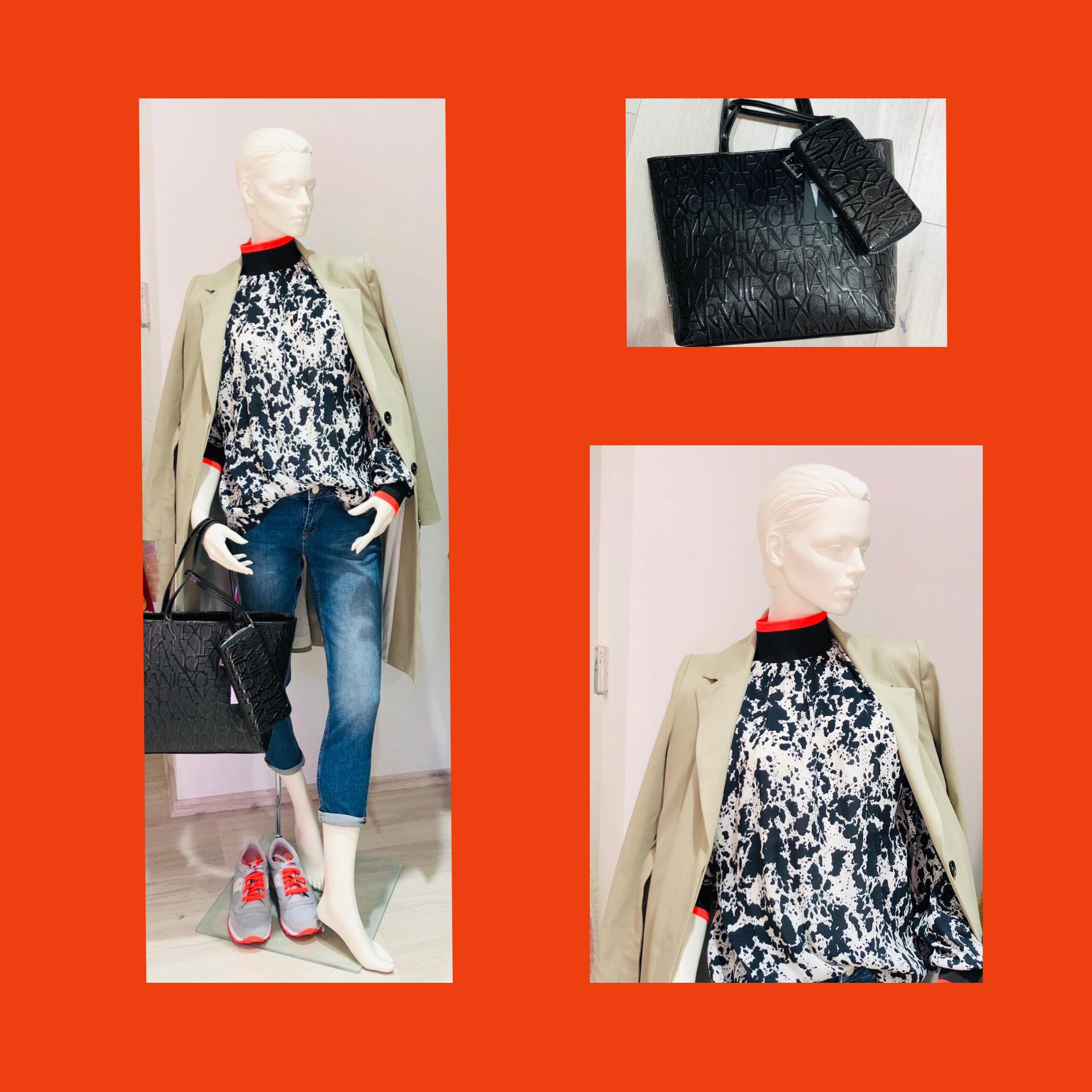 Outfit, Marccain Tasche, Bluse schwarz weisß